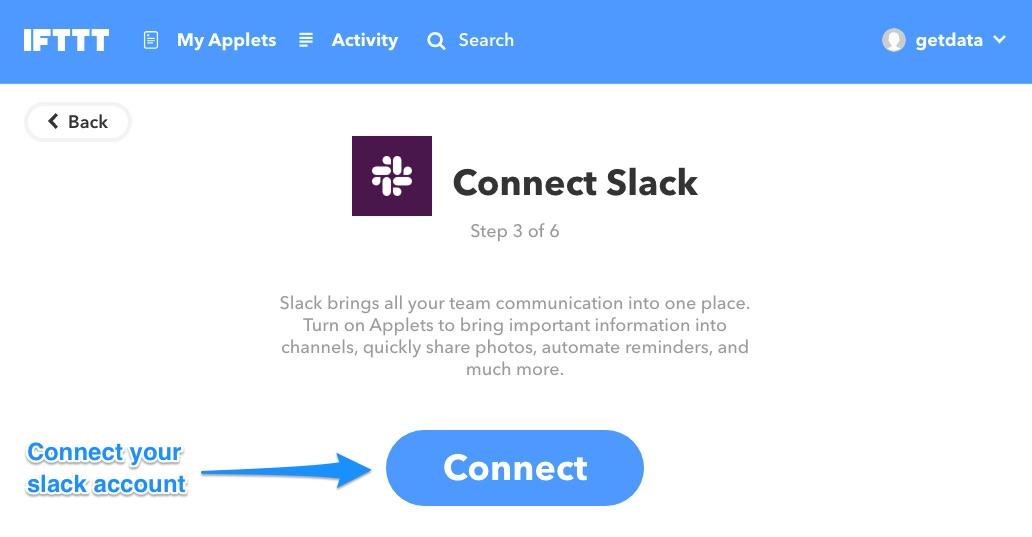 Ifttt connect slack
