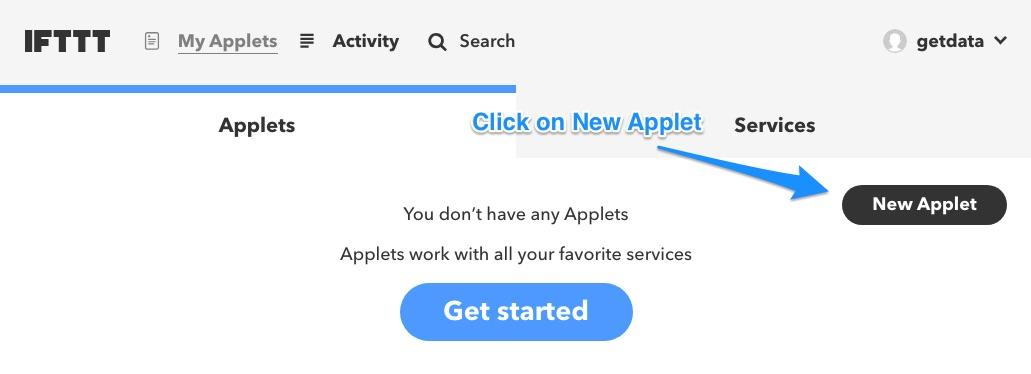 Ifttt creating an applet
