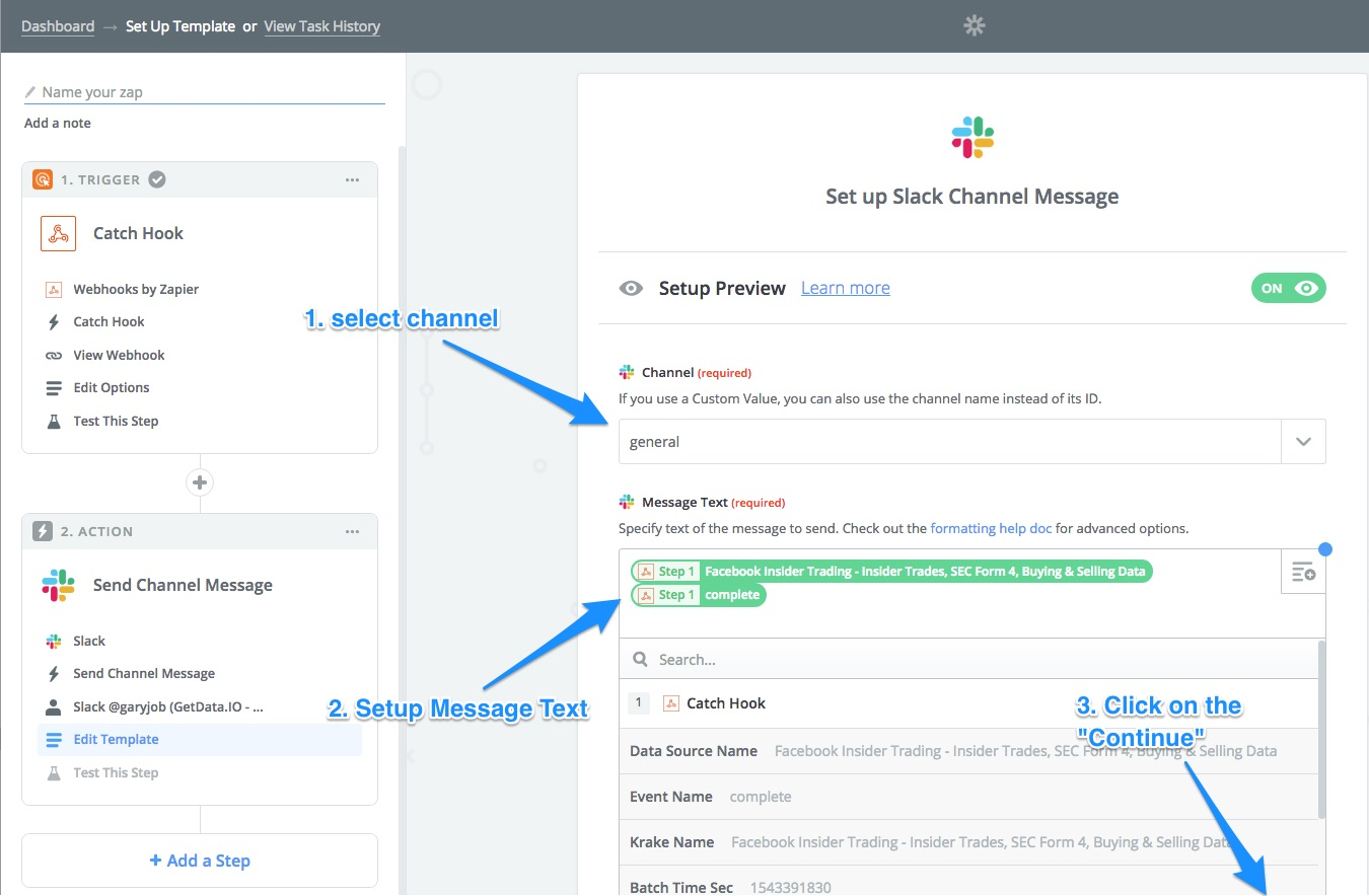 Zapier make slack message