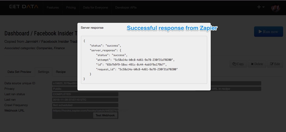 Zapier test webhook 2
